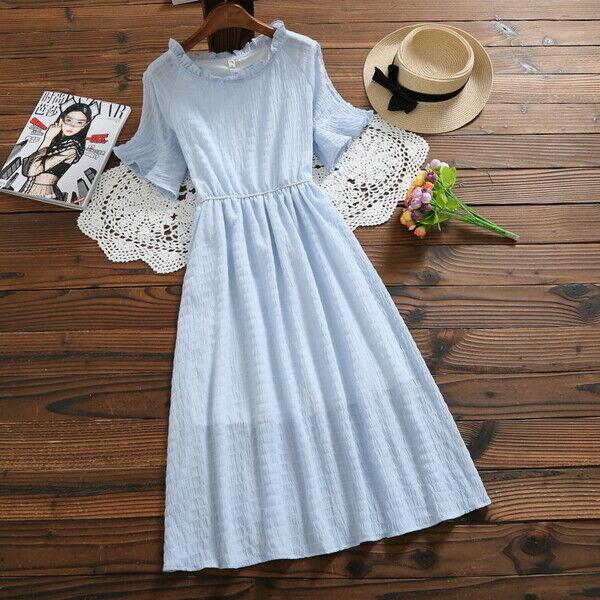Élégant dress gown maxi large bluee romantic swing soft 4982