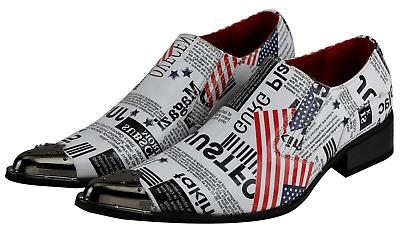Mens Retro White USA Flag Newspaper Print Leather Loafer Metal Toe Slip on Shoes