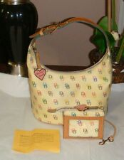 Dooney & Bourke Vintage Yellow & Signature DB Pattern Handbag w/ Matching Wallet