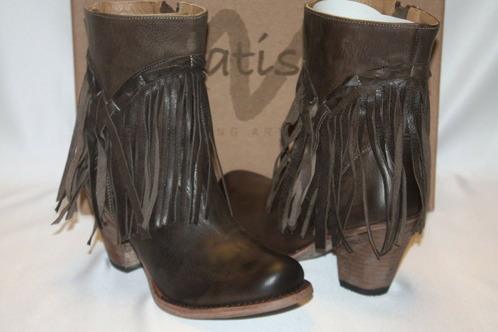 NEW! NIB! MATISSE Brown Leather Fringe RUMOUR Boots Wooden Heel 6.5 7 8.5 $265