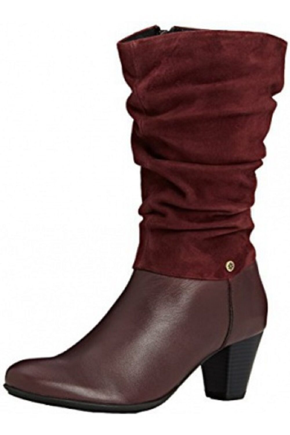 Van Dal Leather Mid Calf Boots 'Kline' Port/Red Leather Dal And Suede 3926c7