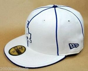 New-Era-59Fifty-Hat-Mens-MLB-Los-Angeles-Dodgers-Piping-White-Royal-Blue-Cap