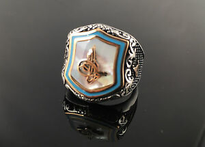 925-Sterling-Silver-White-Pearl-w-Sultan-Signature-Men-039-s-Ring-US-Seller-1K6A