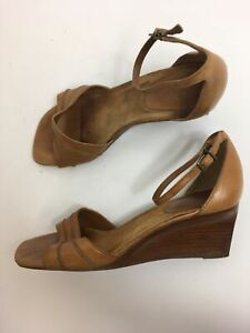 WOMENS-CLARKS-TAN-BROWN-LEATHER-ANKLE-STRAP-HIGH-WEDGE-HEEL-SANDALS-SHOES-UK-6