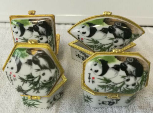 Porcelain jewelry box painted panda Friendly messenger lovelay and cute 4 pieces