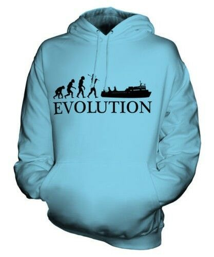 FERRY EVOLUTION OF MAN UNISEX HOODIE TOP GIFT BOAT SHIP