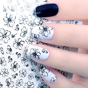 das bild wird geladen linie blume muster wasser sticker nagel aufkleber nail - Nagel Muster