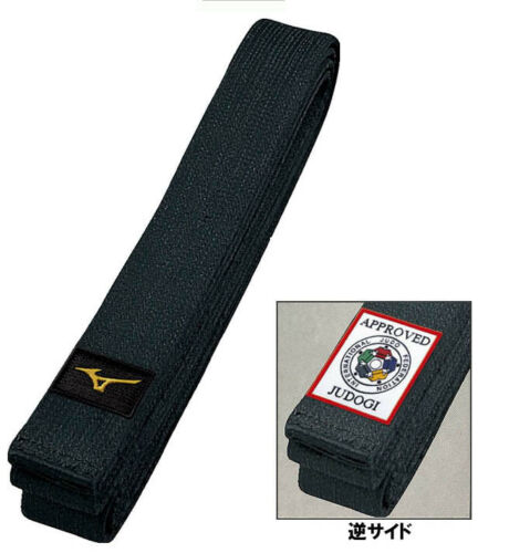 Mizuno JAPAN Judo gi Kuro Obi Black Belt with IJF Official Patch Made in JAPAN