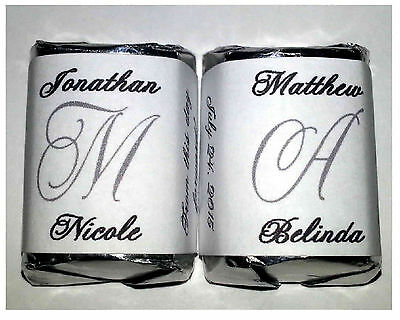 300 SILVER MONOGRAM WEDDING CANDY WRAPPERS FAVORS - Formal