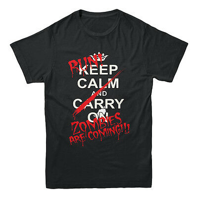 Keep Calm And Run Zombies Are Coming Walking Dead Inspired Funny Men/'s T-shirt