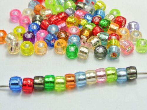 500 Mixte Couleur Argent Feuille Acrylique Barrel poney Perles 6X4mm pour enfants Kandi Craft