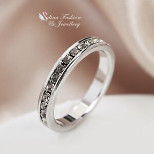 18K-White-Gold-Filled-Diamond-Studded-Silver-Engagement-Wedding-Band-Ring