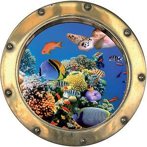 Sticker-trompe-l-039-oeil-deco-Poissons-tortue-ref-hublot-1133