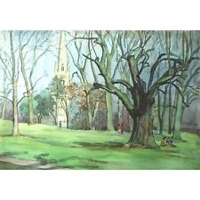 Original Bristol Savages Watercolour Painting Christchurch Clifton Holloway