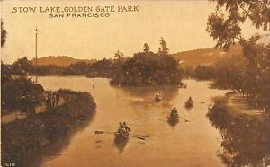 San-Francisco-California-Golden-Gate-Park-Rowboats-on-Stow-Lake-1910-Sepia-PC