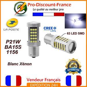 2-x-ampoule-63-LED-BA15S-1156-P21W-BLANC-XENON-VOITURE-Feux-Recul-Jour-SMD
