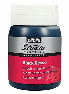 Black Mild And Mellow Art Supplies Industrious Pebeo 500 Ml Studio Acrylics Auxiliaries Gesso Crafts