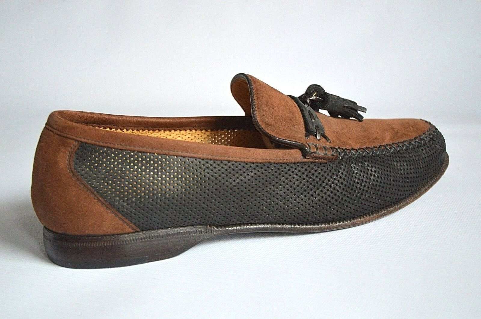 MORESCHI BROWN/BLACK - PERFORATED LEATHER TASSEL LOAFERS - BROWN/BLACK UK 6 EUR 40 US 7 615707