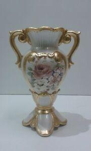 Anfora vaso via veneto ceramica oro e fiori soprammobile for Complementi d arredo via veneto