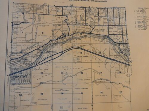 Benton City Township Metsker Map  Yakima River 1976  Benton County  Wa