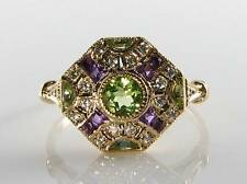 CLASS 9CT 9K GOLD ART DECO INS PERDOT & AMETHYST DIAMOND RING FREE RESIZE