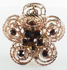 USA Quality Hair Claw Clip Hairpin use Swarovski Crystal Vintage Flower Brown 1