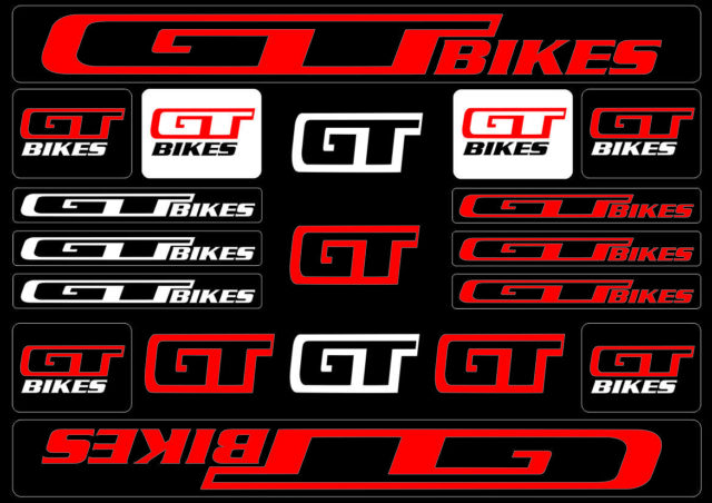 Gt Bicycle Bike Frame Decals Stickers Adhesive Graphic Set Vinyl Aufkleber Red