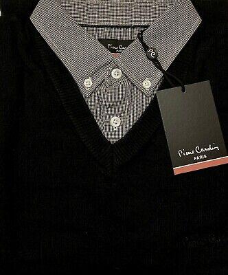 "Men`s PIERRE CARDIN V-Neck Mock Shirt Jumper Size XS 36/"" Extra Small Black"