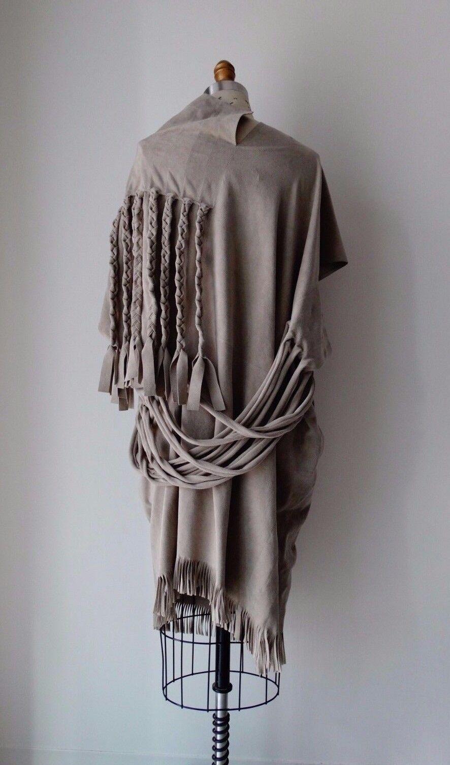 Junya Watanabe Beige Faux Suede Fringe & Braid Embellished Dress Sz S
