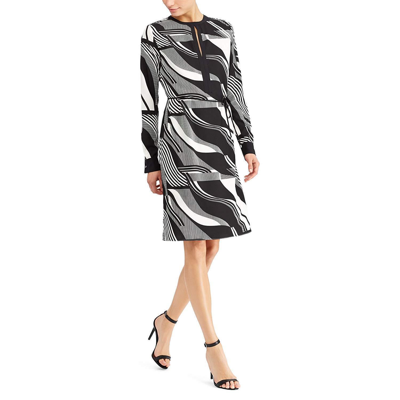 Ralph Lauren (N8226-74)  Printed Crepe Dress schwarz Creme Sz 16