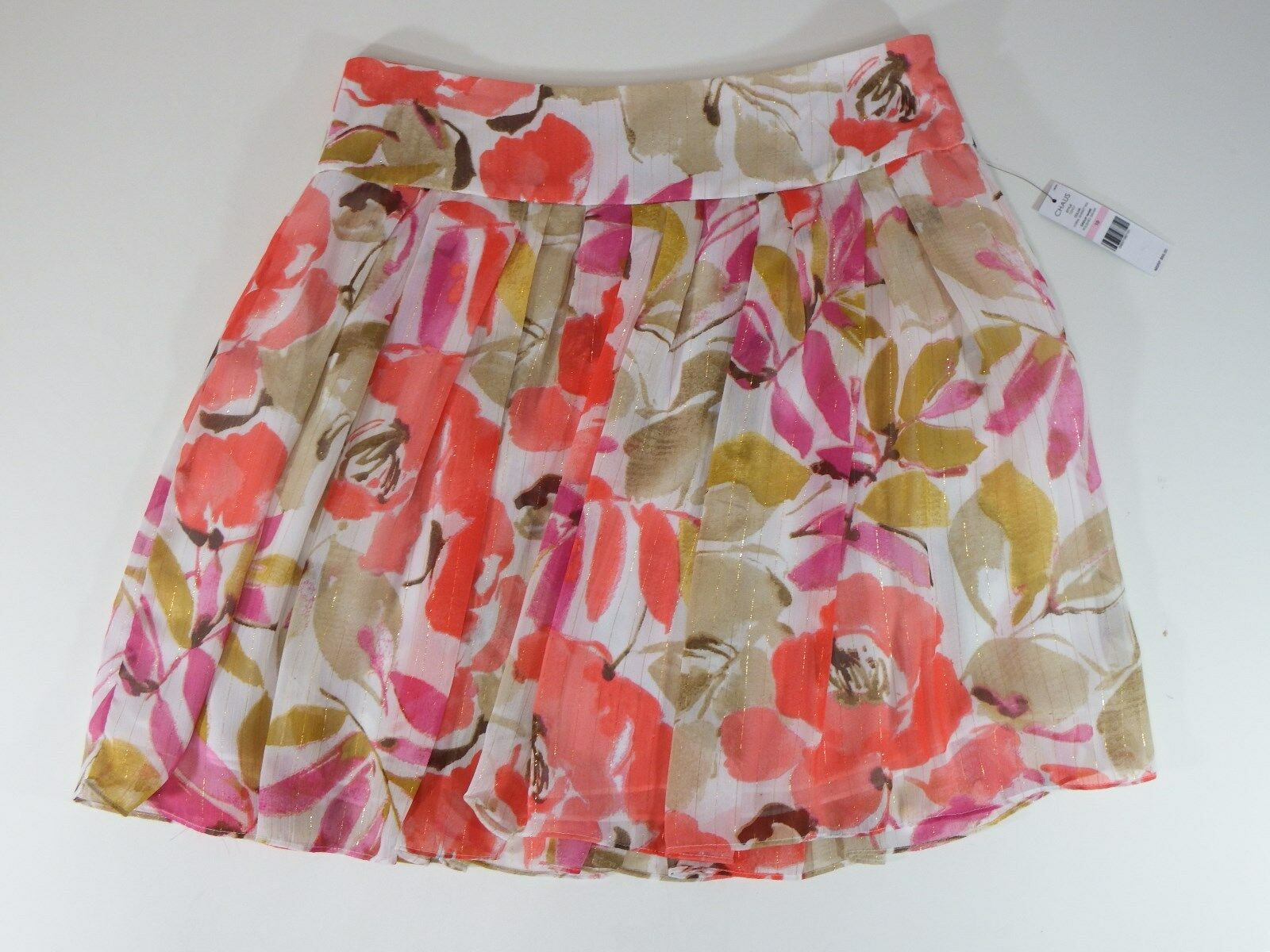 Women skirts chaus full mini skirt floral designs polished safari size reg 10