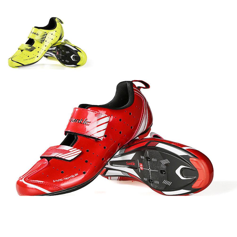 Profesional de fibra de carbono Santic Hombre Zapatos De Bloqueo Hebilla de triatlón Zapatos de ciclismo