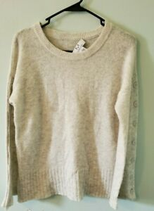 Magaschoni-Women-039-s-Size-Small-Wool-Alpaca-Blend-Button-Sleeve-Sweater-Pullover