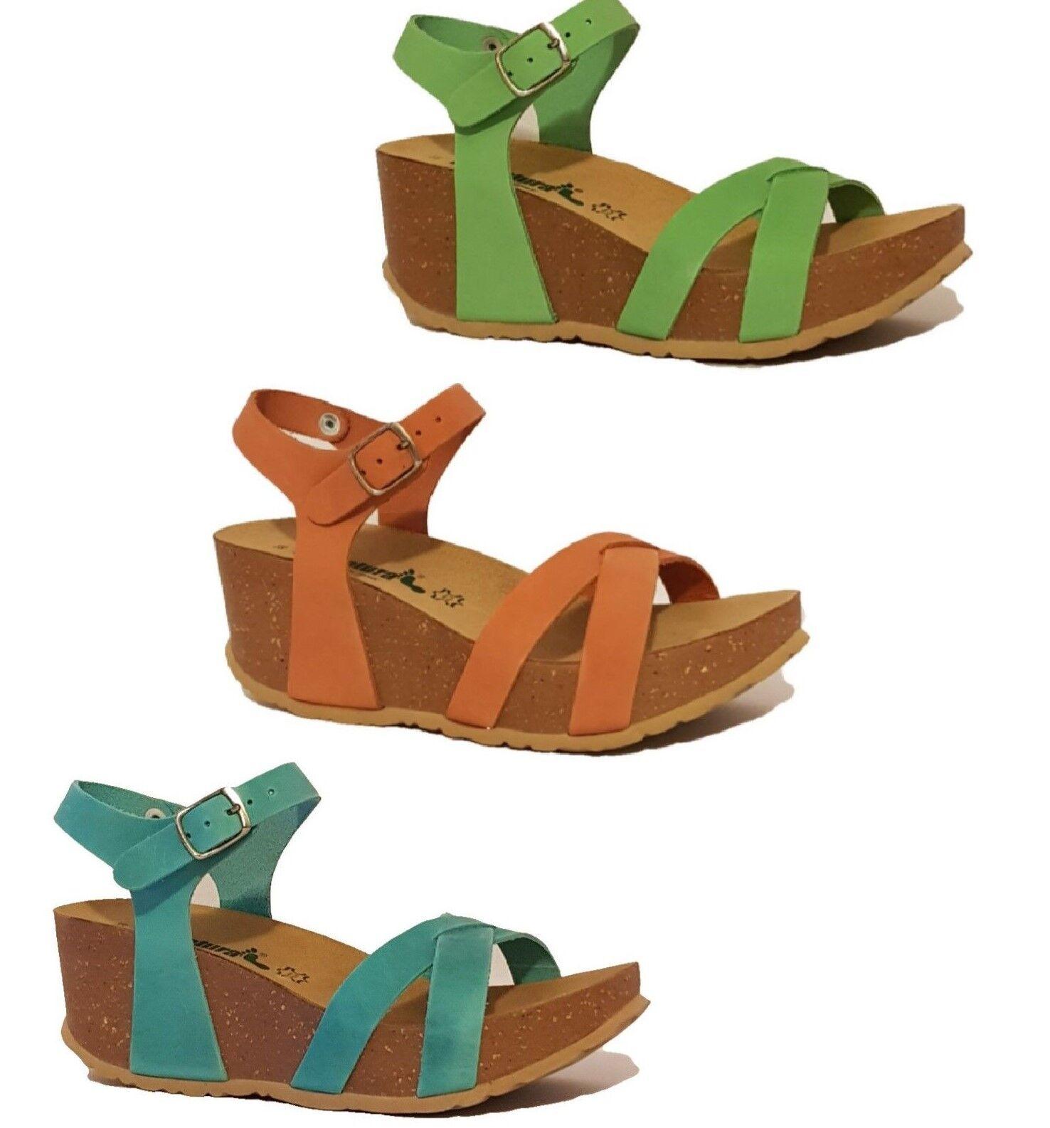 BioNatura 24 Fregene Orange, Turquoise bleu, vert, Nubuck Leather Wedge Sandals