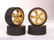 Hoppin Hydros 1/24 SLIM 20s GOLD VORTEX Wheels Rims & Tires for Hobby Model Cars