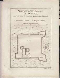 C1-AFRIQUE-Nicolas-BELLIN-Plan-du-FORT-ANGLOIS-DE-SUKONDA-1748-Ghana-ORIGINAL