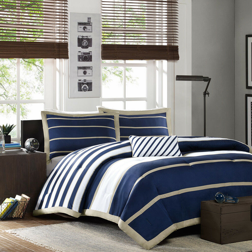 NEW SPORTY 4 PC Blau Weiß NAVY TAN BEIGE BOYS TEEN STRIPE SOFT COMFORTER SET