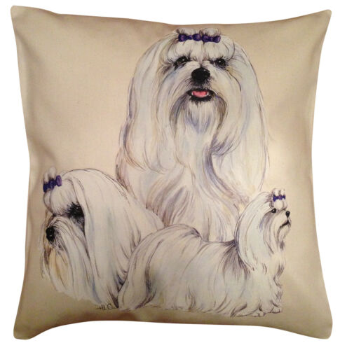 Gift Item Maltese Group Cotton Cushion Cover Cream or White Cover
