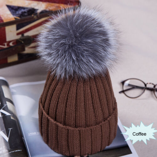 Grosse boule femme chapeau hiver Fox 15 cm Fourrure Pom Pom Knit Beanie Ski Chapeau Bobble