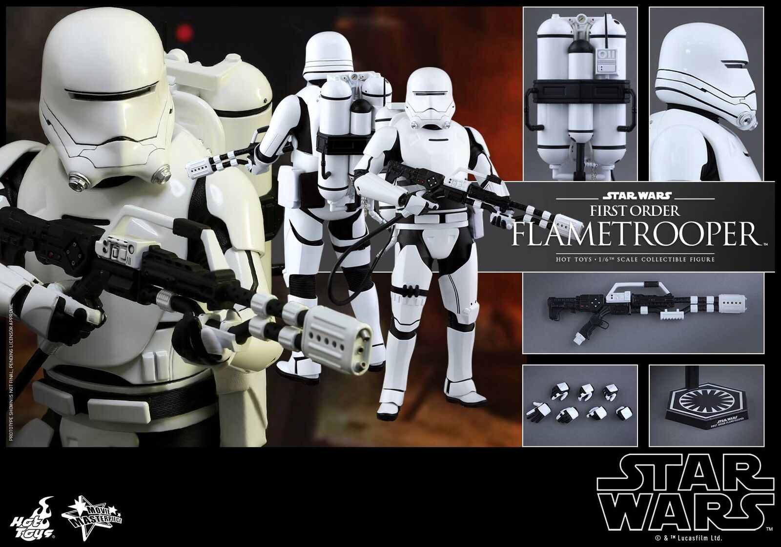 Hot Toys MMS326 Star Wars Force Awakens First Order Flametrooper Figure NEW Fast