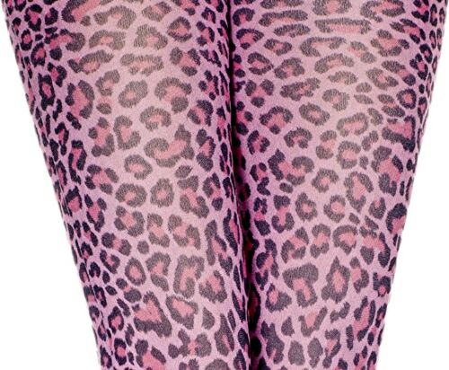 Pink Leopard Print Footless Tights