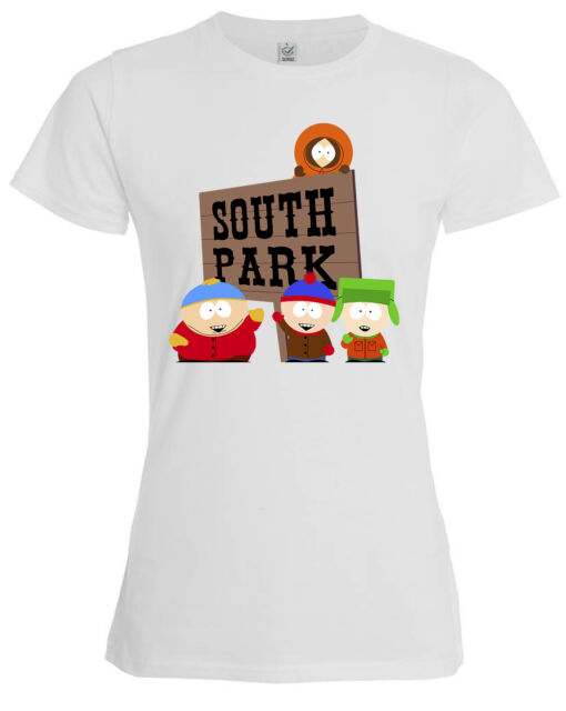 3f1dd13d5c98d South Park Sign Logo Cartman Stan Kyle Kenny funny women s t shirt top white