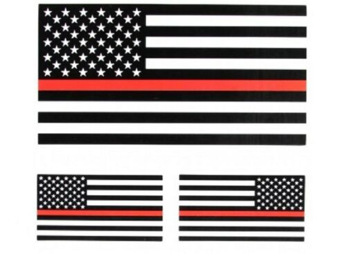 Tank 3 stickers 1027 Firefighter THIN RED LINE B/&W AMERICAN FLAG Helmet #56