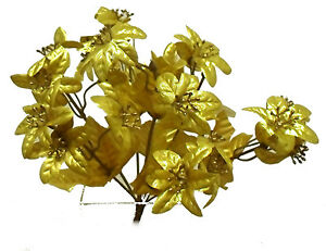 Mini GOLD POINSETTIAS Silk Wedding Flowers Centerpiece Bouquet Christmas Decor