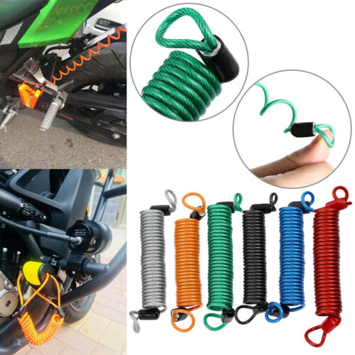 Motorcycle Scooter Alarm Disc Lock Spring Reminder Cable Security Anti Thief