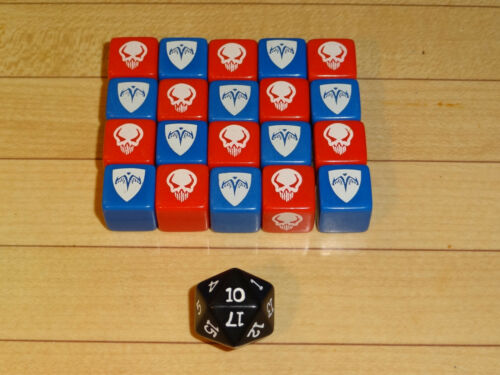 Heroscape Combat Dice Set - Rise of the Valkyrie 1st Edition - Red Blue Complete