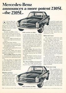 1967 Mercedes Benz 230SL 250SL Classic Vintage Advertisement Ad - LV3