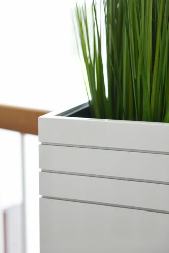 "100x30x30 Pflanzkübel Blumenkübel exklusiv Fiberglas /""Block/"" Weiß Hochglanz"