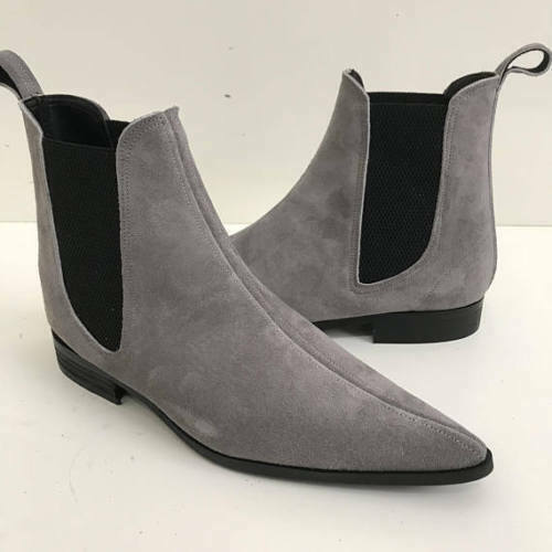 Mens Handmade Boots Grey Suede Leather Chelsea Formal Wear Casual shoes US 6-16