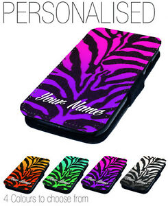 Personalised-Name-Zebra-Design-Printed-Faux-Leather-Flip-Phone-Cover-Case-Gift